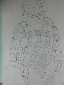 schets op linoleum
