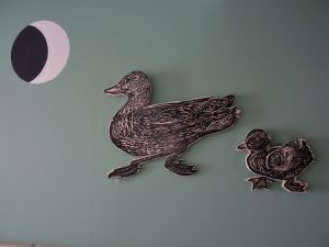 Duck, linocut on plywood